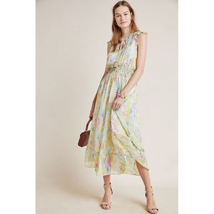 New Anthropologie Watercolor Maxi Dress